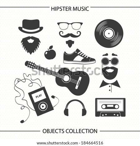 Hipster music objects collection - stock vector