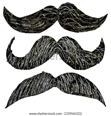Hipster mustache set painted vector