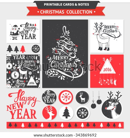Hipster New Year and Merry Christmas set. Vector printable cards, stickers and banners with dear, santa, tree, snowflake, etc. - stock vector