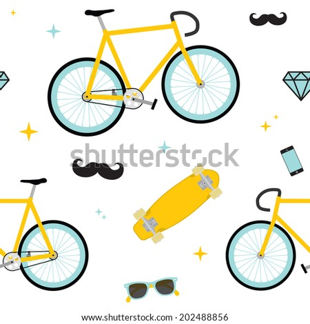 Hipster objects seamless white vector pattern - stock vector