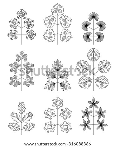 Hipster Outlined Tree Icon Set Isolated, Vector set of leaves - stock vector