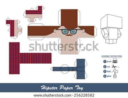 Hipster paper toy with assembly instruction. This vector is completely customizable. - stock vector
