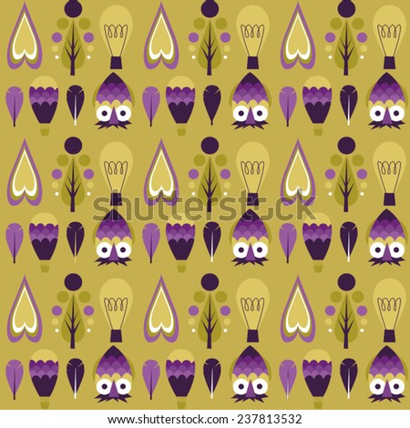 Hipster pattern with hearts, owls, trees, bulbs, balloons and feather - stock vector