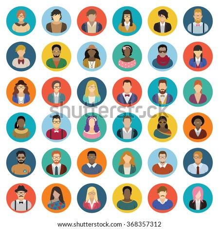 Hipster people icon set - stock vector