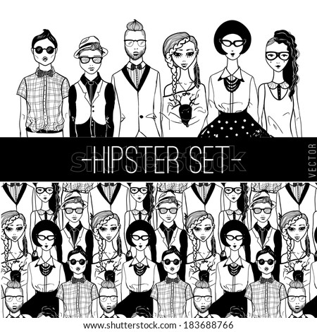 Hipster people set. - stock vector