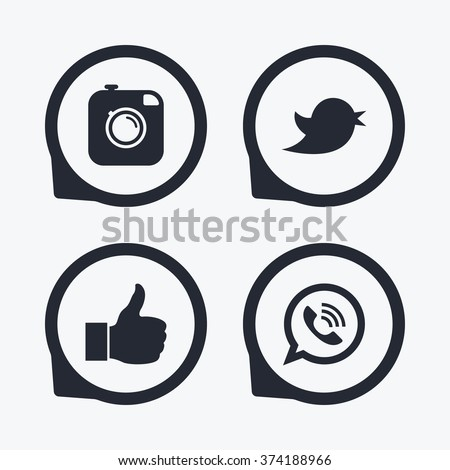 Hipster photo camera icon. Like and Call speech bubble sign. Bird symbol. Social media icons. Flat icon pointers. - stock vector