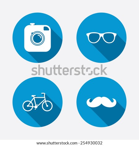 Hipster photo camera with mustache icon. Glasses symbol. Bicycle family vehicle sign. Circle concept web buttons. Vector - stock vector