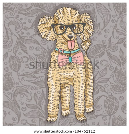Hipster poodle with glasses and bowtie. Cute puppy illustration for children and kids. Dog background. - stock vector