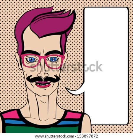 Hipster portrait with speech bubble, hand drawn illustration of a man with mustache and pink glasses over a background with dots - stock vector