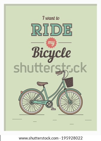 Hipster poster with retro bicycle on background with retro lettering