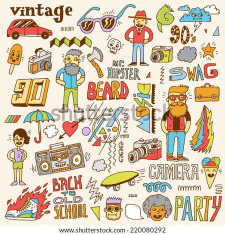 Hipster retro swag colorful set. Hand drawn vector illustration. - stock vector
