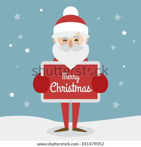 Hipster Santa Claus character illustration and christmas icons set. Merry Christmas  holding tablet with merry christmas text. - stock vector