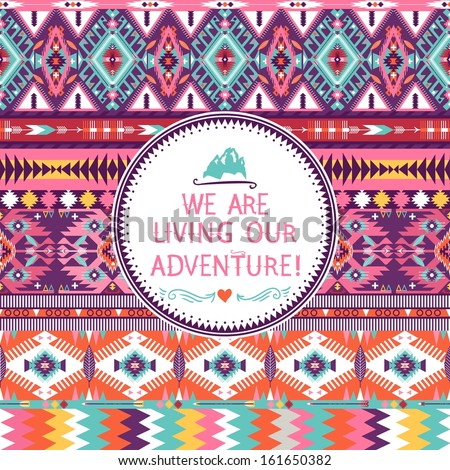 Hipster seamless colorful  tribal pattern with geometric elements and quotes typographic text - stock vector