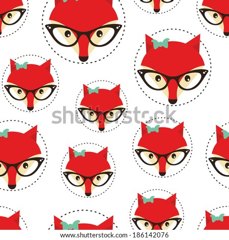 Hipster seamless pattern with red lady fox. Vector background.  - stock vector