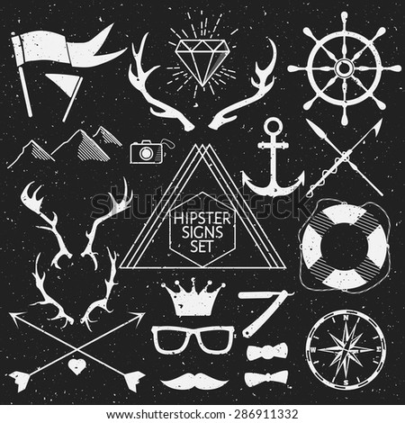 Hipster signs set. Antlers, anchor, lifebuoy, arrows, logo, etc. Vector Illustration. - stock vector