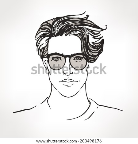 Hipster. Sketchy  style portrait of a young man in glasses. Hand drawn vector illustration. - stock vector