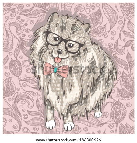 Hipster spitz with glasses and bowtie. Cute puppy illustration for children and kids. Dog background. - stock vector