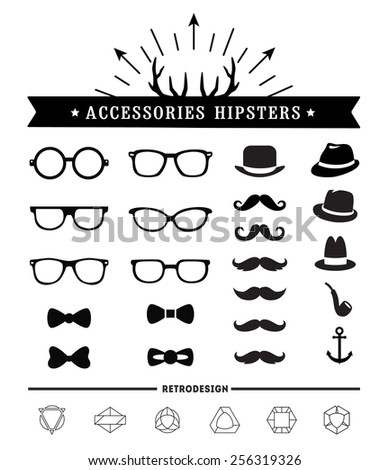 Hipster style and accessories icon set - stock vector