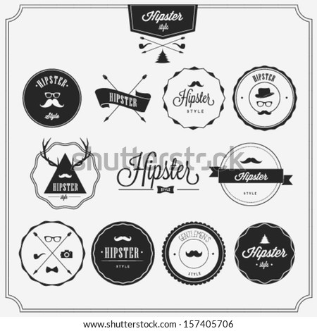 Hipster style badges set - stock vector