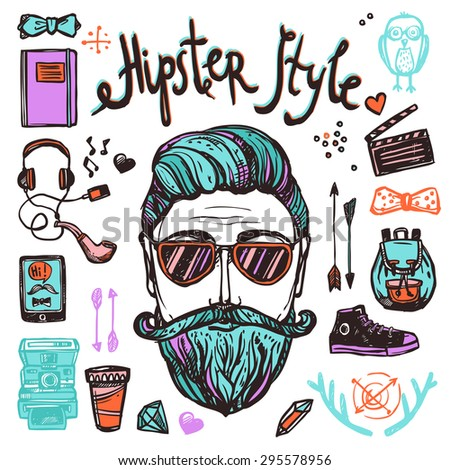Hipster style cartoon person with accessories attribution and symbols sketch color hand drawn concept vector illustration - stock vector