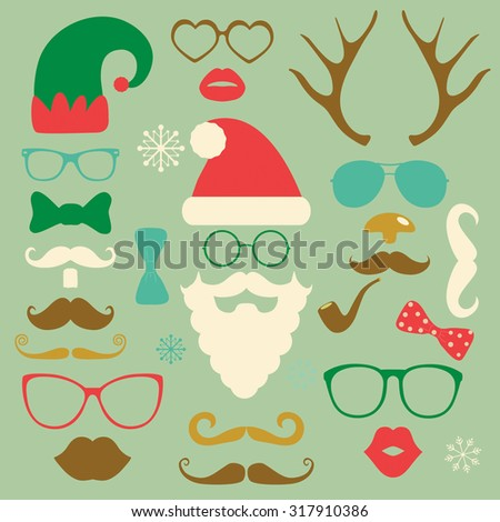 Hipster Style Christmas Colorful Fashion Silhouettes Icon Set. Vector Illustration. New Year - stock vector