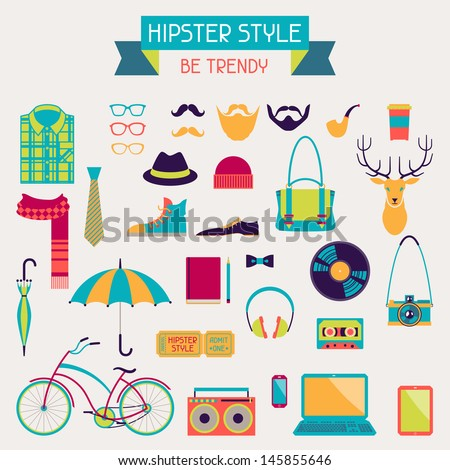 Hipster style elements and icons set for retro design. - stock vector