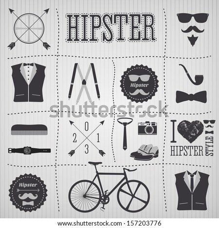 Hipster style elements with shoes, pipe, bicycle, mustache ... - stock vector