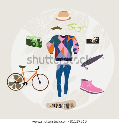 Hipster style how to be a hipster set - stock vector