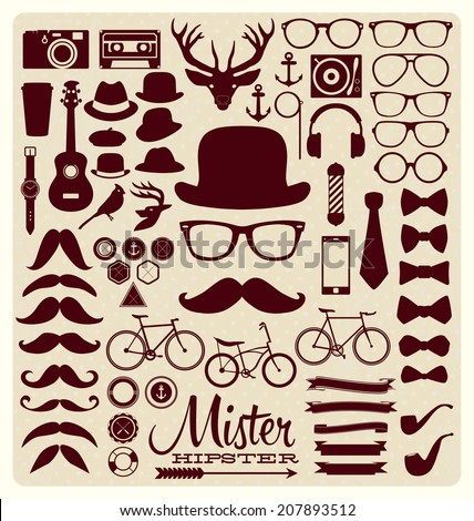 Hipster style icon set - stock vector
