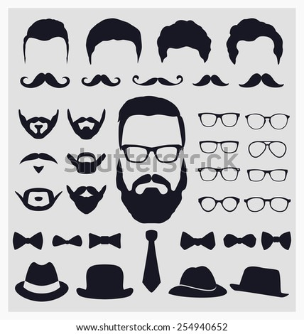 Hipster style icon set - Mustache, glasses, hats collection - stock vector