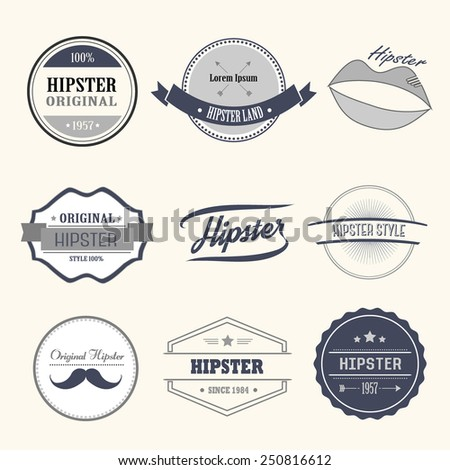 Hipster style infographics elements and icons set for retro design.  - stock vector