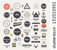 Hipster style infographics elements and icons set for retro design. With bicycle, phone, sunglasses, mustache, bow, anchors, apple and camera. Vector illustration. - stock