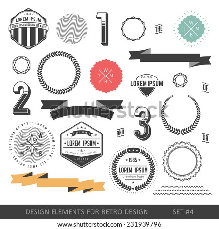 Hipster style infographics elements set for retro design. With ribbons, labels, numbers, borders and diamonds. Vector illustration - stock vector