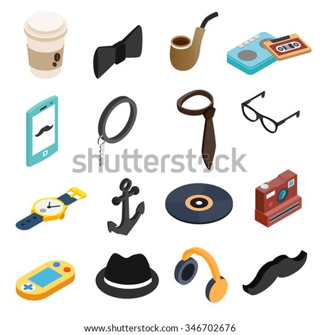 Hipster style isometric 3d icons set for web and mobile devices - stock vector