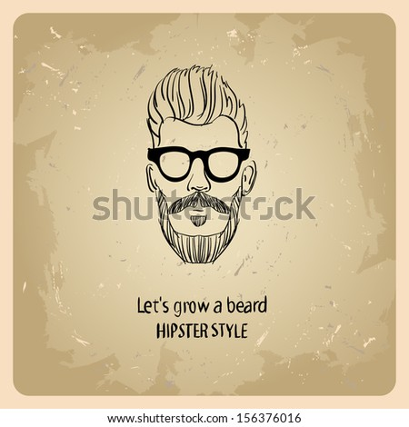hipster style men  on the vintage background  - stock vector