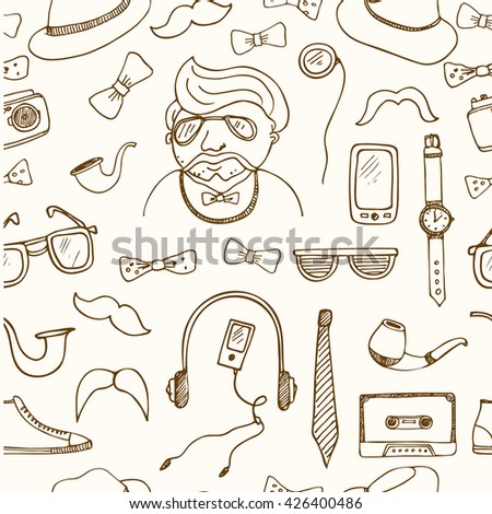 Hipster style seamless pattern Sketches Hand-drawing Vector illustration of for design and packages product.