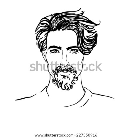 Hipster Style: trendy fashion men. Sketch character . Vector illustration. - stock vector