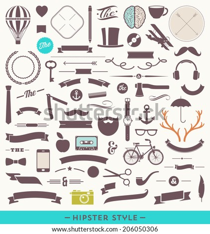 Hipster style vector set - simple silhouette design elements - stock vector