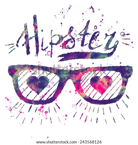 Hipster style. Vector watercolor fashion design print for summer t shirt with sunglasses, hearts and rays. Vector element for your design - stock vector