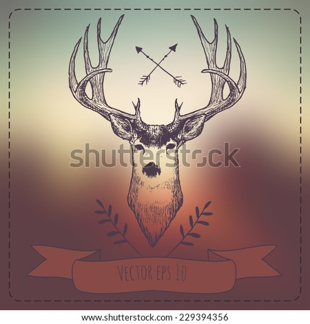 Hipster Style Vintage Elements with Deer for Retro Design in Vector - stock vector