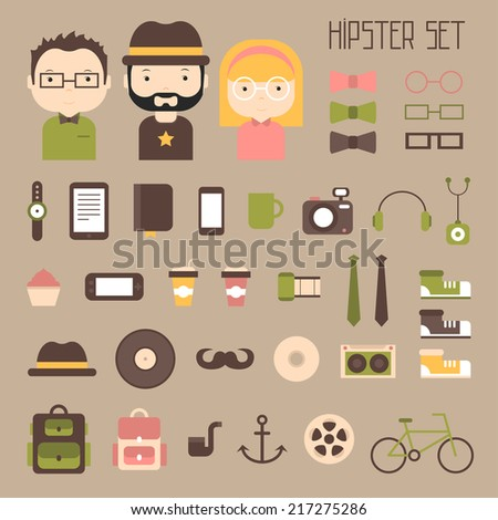 Hipster vector colorful style elements and characters icons set for retro design. Infographic concept background. Illustration in flat style. - stock vector