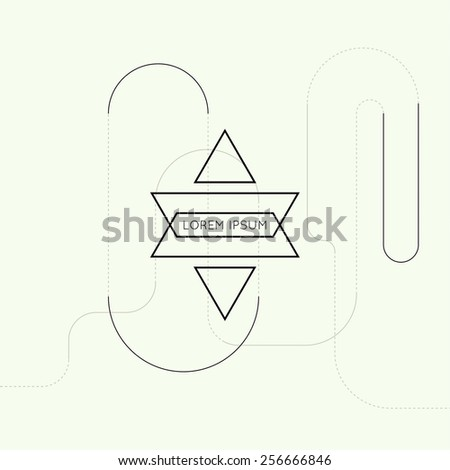 Hipster vector logo on techno background. Science and connection concept. Social network. - stock vector