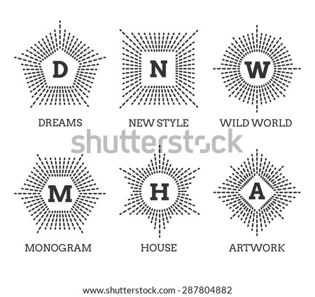 Hipster vintage labels, logo or badges. Shape of star square circle pentagon hexagon. Vector illustration - stock vector