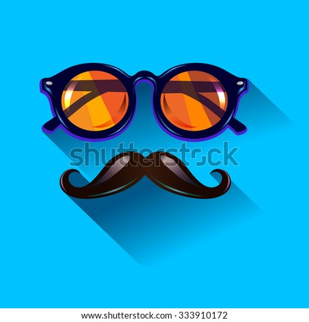 Hipster vintage sunglasses on blue background. Web Banner Vector Flat Design .Vector Mustache and Glasses Icon. Hipster creative design template. Pop art - stock vector