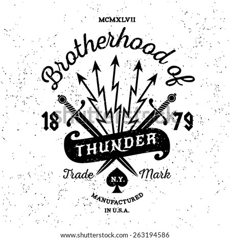 "hipster vintage vector label , badge , logo  "" Brotherhood of Thunder "" for poster, tattoo or t-shirt print with sword, lightning, ribbon and lettering - stock vector"