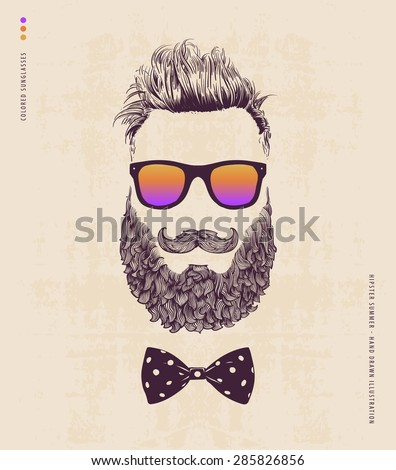 Awe Inspiring Graphic Image Of A Beard And Mustache Stock Images Royalty Free Short Hairstyles Gunalazisus