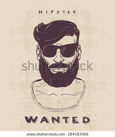 hipster with beard, mustage and sunglasses. hand drawn illustration - stock vector