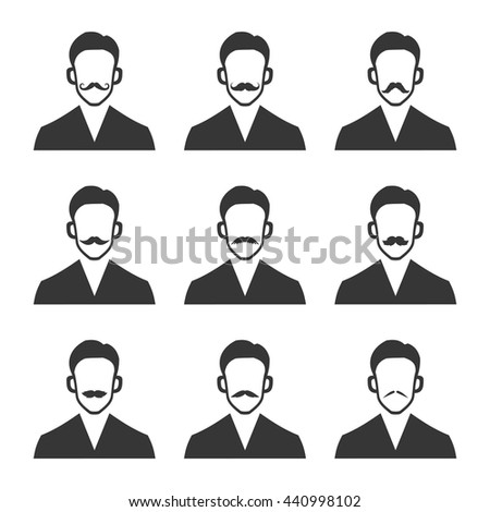 Hipster With Mustache Set on White Background. Vector illustration - stock vector