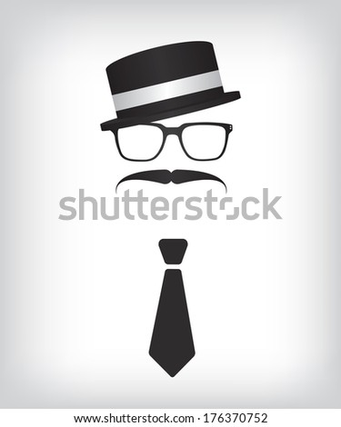 Hipster with tie and glasses - stock vector