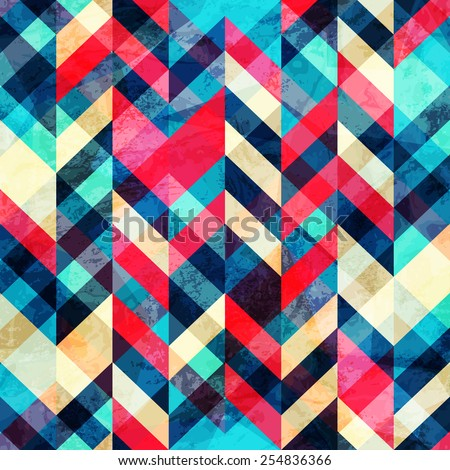 hipster zigzag seamless pattern with grunge effect  - stock vector